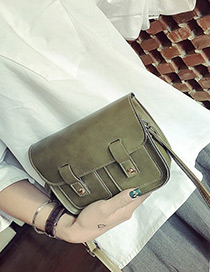 Vintage Green Double Pocket Decorated Simple Pure Color Bag