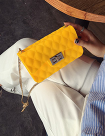 Fashion Yellow Metal Lock Catch Decorated Simple Long Chain Jelly Bag