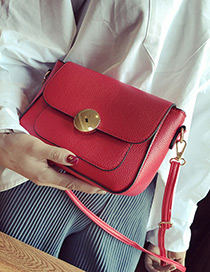 Vintage Red Round Shape Lock Catch Decorated Simple Long Chain Bag