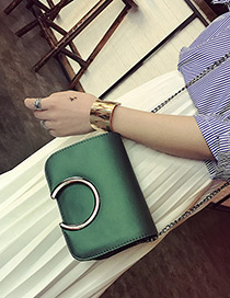 Fashion Green Metal Round Shape Decorated Simple Pure Color Bag