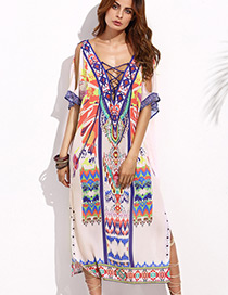 Bohemia Multi Color Printing Pattern Decorated Simple Long V-nickline Long Dress