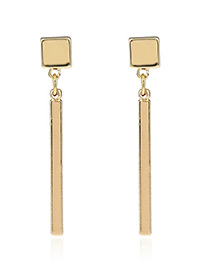 Fashion Gold Color Long Strip Pendant Decorated Simple Pure Color Earrings