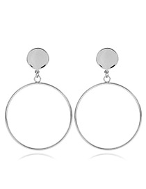 Fashion Silver Color Hollow Out Round Shape Pendant Decorated Simple Pure Color Earrings
