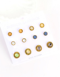 Vintage Multi-color Round Shape Decorated Simple Eearrings(6pcs)