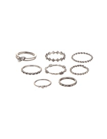 Vintage Silver Color Round Shape Decorated Simple Pure Color Rings(8pcs)