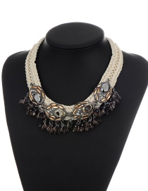 Elegant Champagne Round Shape Decorated Simple Hand-woven Necklace
