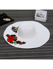 Fashion White Flower Shape Patch Decorated Simple Sunbonnet