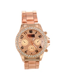 Fashion Gold Color Round Shape Diamond Decorated Simple Pure Color Watch