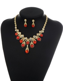 Red Round Shape Diamond Decorated Simple Shortg Chain Jewelry Sets