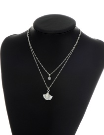 Fashion Silver Color Shell Shape Pendant Decorated Double Layer Necklace