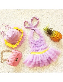 Lovely Purple Pure Color Decorated Simple Child Swimwear (with Hat)