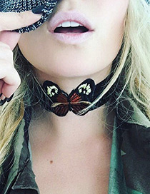 Vintage Black Butterfly Shape Decorated Simple Short Chain Choker