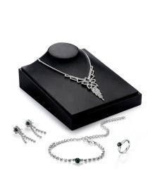 Elegant Silver Color Flower Shape Decorated Simple Jewelrt Sets(4pcs)