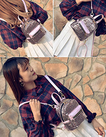 Trendy Purple Paillette Decorated Pure Color Simple Backpack