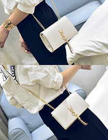 Fashion White Tassel Decorated Pure Color Square Shape Shoulder Bag
