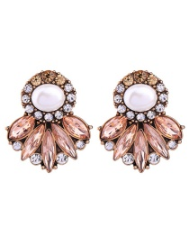 Fashion Gold Color Oval Shape Diamond Decorated Color Matching Earrings