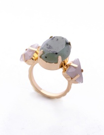 Fashion Gold Color Gemstone Decorated Geometric Shape Simple Ring