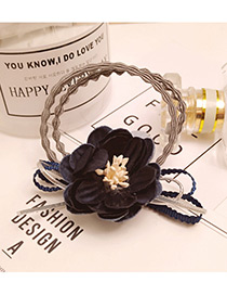 Fashion Navy Flower Decorated Color Matching Doubler Layer Hair Band