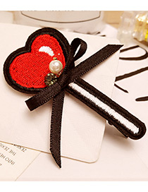 Fashion Red Heart Shape Decorated Color Matching Hair Pin