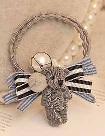 Lovely Black+white Bear&bowknot Decorated Color Matching Doubler Layer Hair Band