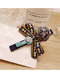 Elegant Navy Fuzzy Ball&bowknot Decorated Color Matching Hairpin