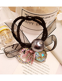 Fashion Pink Flower&round Ball Decorated Double Layer Hair Band