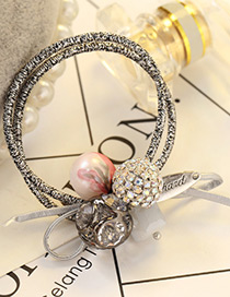 Elegant Red Round Ball&diamond Decorated Double Layer Hair Band