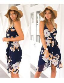 Fashion Sapphire Blue Painting Flower Decorated V Neckline Simple Sandbeach Dress