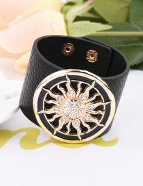 Elegant Black Sun Pattern Decorated Pure Color Simple Bracelet
