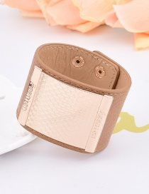 Fashion Brown Square Shape Decorated Pure Colr Simple Width Bracelet