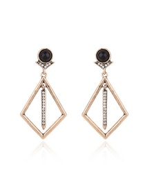 Fashion Gold Color Diamond Decorated Hollow Out Design Earrings