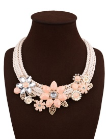 Fashion Pink Flowers&diamond Decorated Multi-layer Simple Necklace