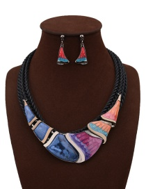 Fashion Black Irregular Shape Decorated Color Matching Simple Jewelry Sets