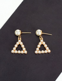 Fashion Milk White Pearls Decorated Triangle Shape Simple Earrings