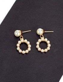 Fashion Milk White Pearls Decorated Round Shape Simple Earrings