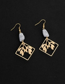Fashion Gold Color Leaf&square Shape Decorated Pure Color Earrings