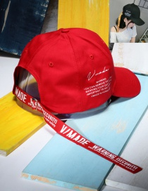 Fashion Red Letter Pattern Decorated Pure Color Simple Baseball Cap