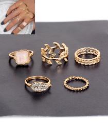 Fashion Gold Color Square Shape Diamond Decorated Leaf Shape Design Ring(5pcs)