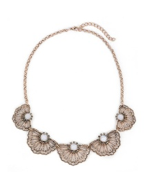 Fashion Gold Color Flower&diamond Decorated Hollow Out Design Simple Necklace