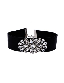 Fashion Black Flower Decorated Color Matching Width Choker
