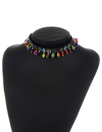 Fashion Black Embroidery Balls Decorated Color Matching Choker