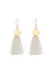 Fashion White Long Tassel Pendant Decorated Pure Color Earrings