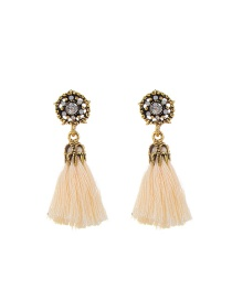 Fashion White Tassel Decorated Hollow Out Pure Color Earrings