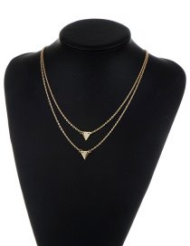 Fashion Gold Color Triangle Shape Decorated Pure Color Double Layer Necklace