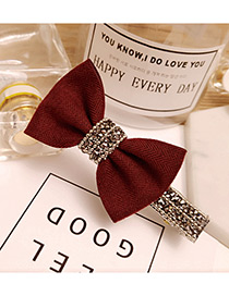 Fashion Claret Red Bowknot Decorated Pure Color Duckbilled Hairpin