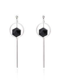 Fashion Black Vertical Shape Pendant Decorated Color Matching Earrings
