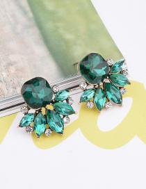 Exaggerated Green Geometric Shape Diamond Decorated Pure Color Earrings