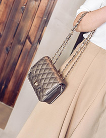 Fashion Gold Color Grid Pattern Decorated Pure Color Mini Shoulder Bag