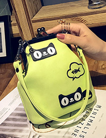 Fashion Yellow Cartoon Pattern Decorated Color Matching Mini Shoulder Bag