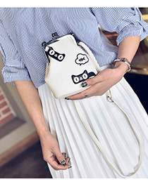 Fashion White Cartoon Pattern Decorated Color Matching Mini Shoulder Bag